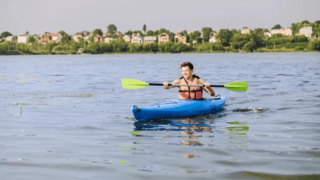 coleman inflatable kayak with single man